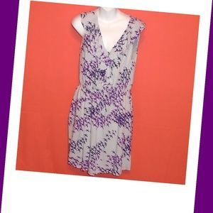 BCBGeneration Purple Gray Bird Dress Medium